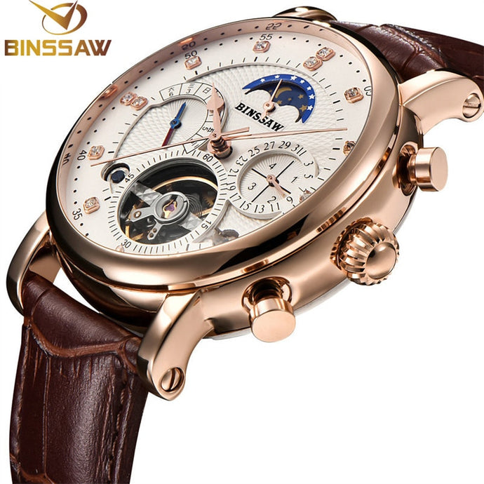 BINSSAW Men's Leather Mechanical Tourbillon Watche