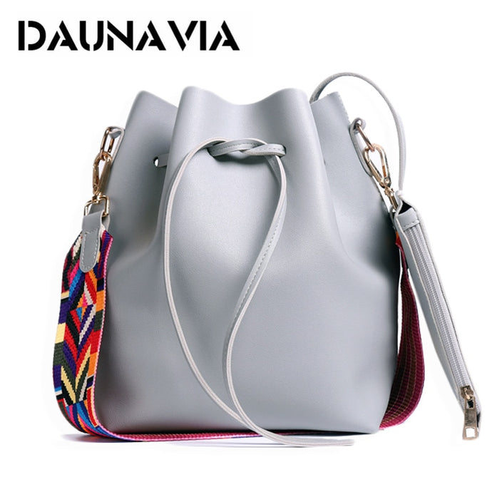 DAUNAVIA Women's Colorful Strap Leather Bucket Bag