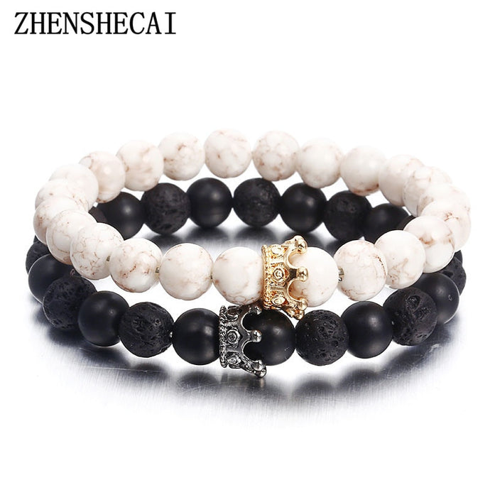 Fashion Acrylic Distance Bracelets For Women Men Classic Black and White Charm Beads Bracelet & Bangles Jewelry gift ns74