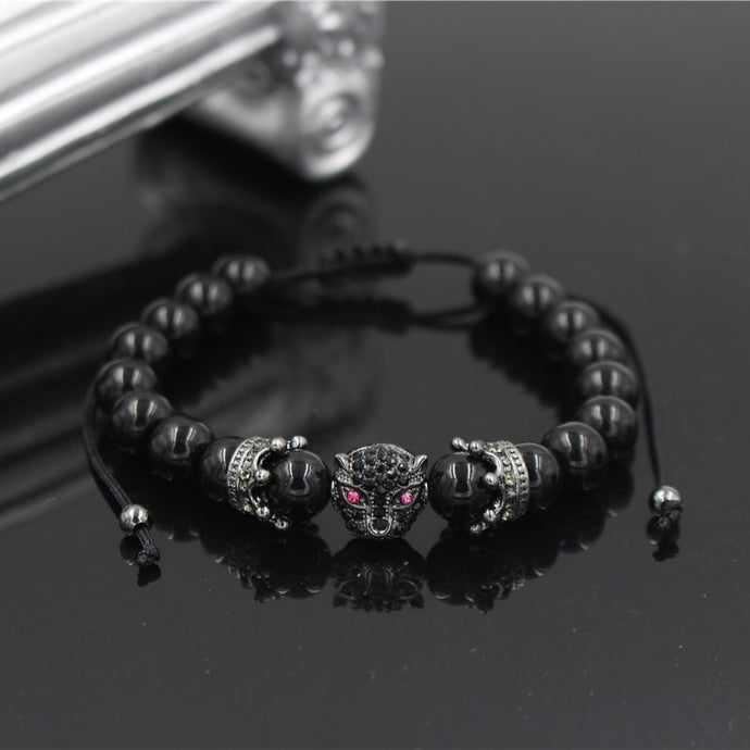 Fashion Men Women Charm Black CZ Crown Leopard Beaded Natural Stone Adjustable Braiding Macrame Bracelets Jewelry Gift