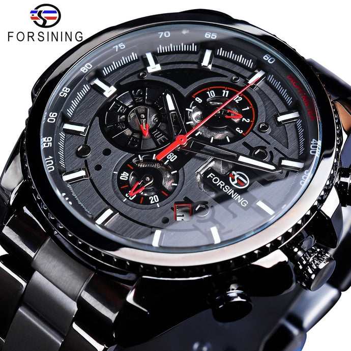 Forsining Men's Three Dial Calendar Black Stainless Steel Wrist Watch