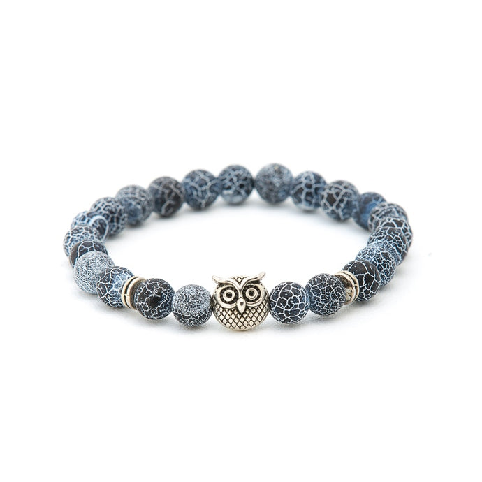 Hot Selling Men's Bracelets Creative Silver & Gold Trendy Fashion Jewelry Vintage Owl Head Charm Elastic Yog Bead Bracelet