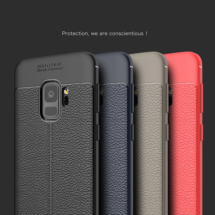 Luxury Shockproof Soft TPU Case For Samsung Galaxy A5 A7 A8 2018 A8 Plus Leather Phone Case For Samsung Galaxy S9 S9 Plus Cover