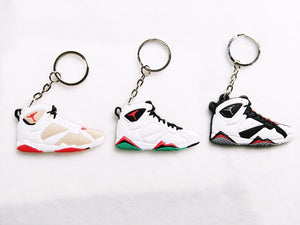 Mini Silicone Jordan 7 Keychain Bag Charm Woman Men Kids Key Ring Gifts Sneaker Key Holder Pendant Accessories Shoes Key Chain
