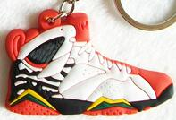 Load image into Gallery viewer, Mini Silicone Jordan 7 Keychain Bag Charm Woman Men Kids Key Ring Gifts Sneaker Key Holder Pendant Accessories Shoes Key Chain