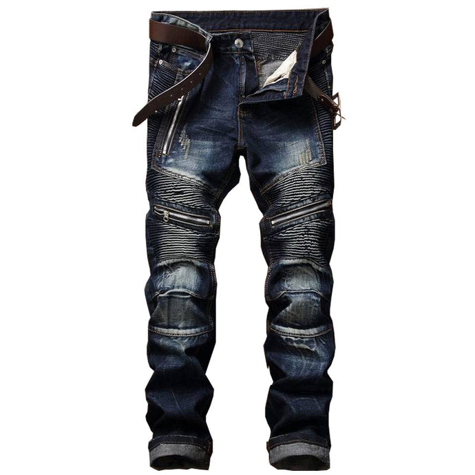 Newsosoo Men's Pleated Denim Biker Jeans