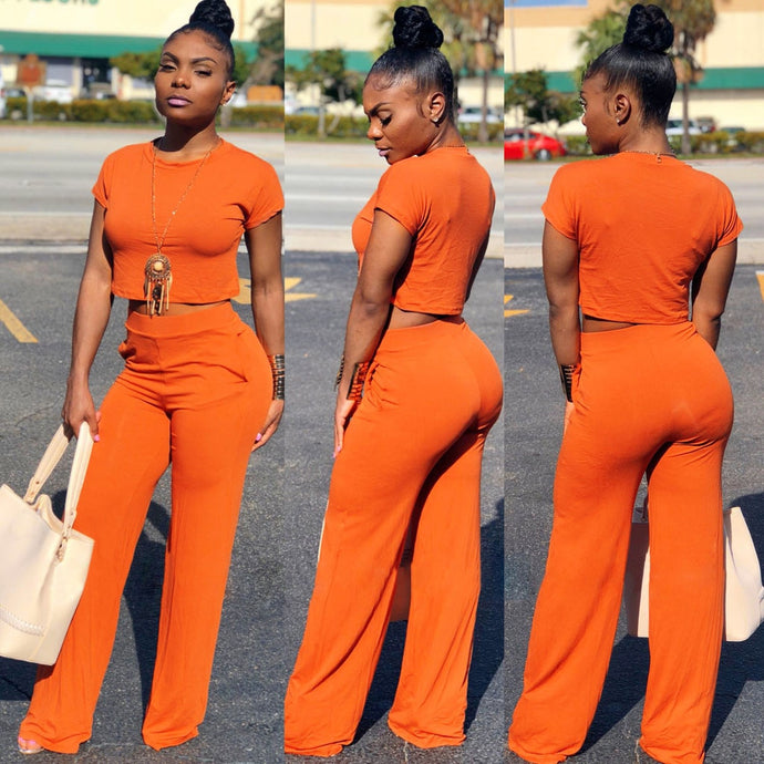 Women's 2 piece Short Sleeve Wide Leg Jumpsuit