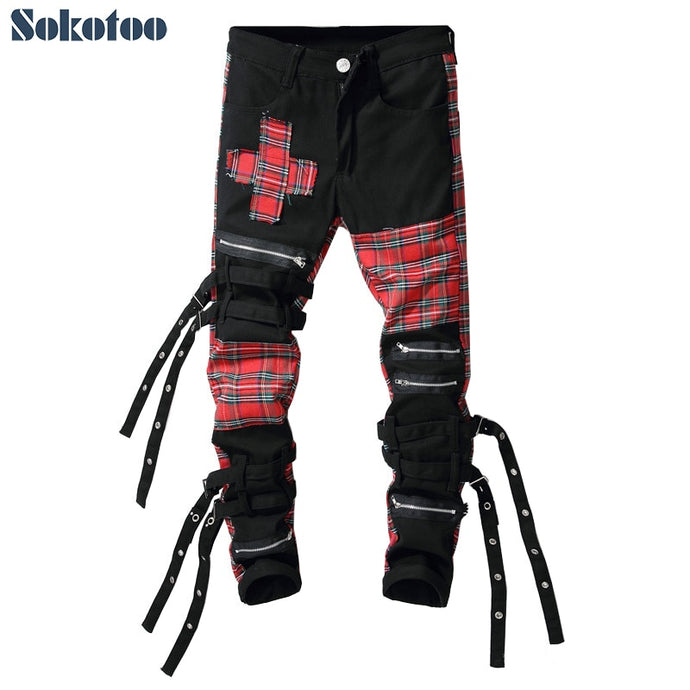 Sokotoo Men's Scotland Plaid Patchwork Denim Jeans