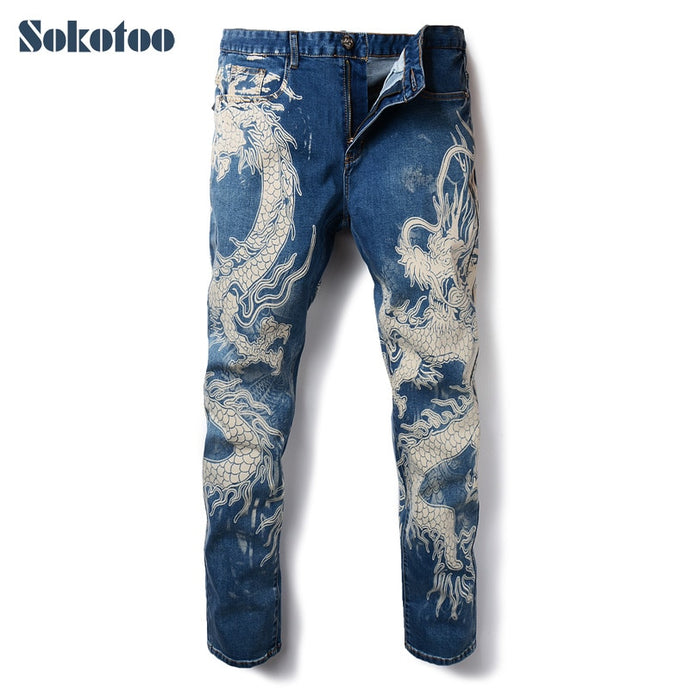 Sokotoo Men's Dragon Print Denim Jeans