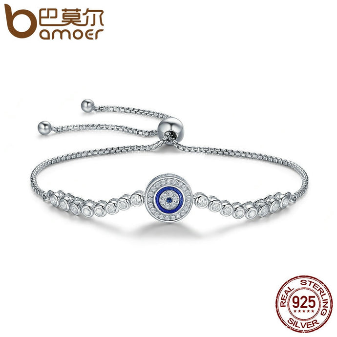 BAMOER Authentic 925 Sterling Silver Blue Eye Tennis Bracelet for Women Adjustable Chain Bracelet Sterling Silver Jewelry SCB033