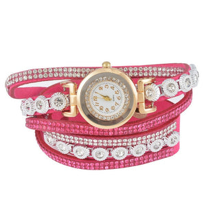 "Doreen Box Velvet Quartz Wrist Watches Multicolor Clear Rhinestone Weave Casual Analog Battery Included 40cm(15 6/8"") long, 1 Pc"