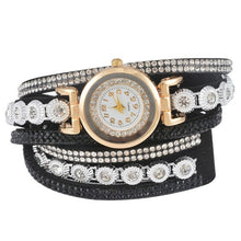 "Load image into Gallery viewer, Doreen Box Velvet Quartz Wrist Watches Multicolor Clear Rhinestone Weave Casual Analog Battery Included 40cm(15 6/8"") long, 1 Pc"