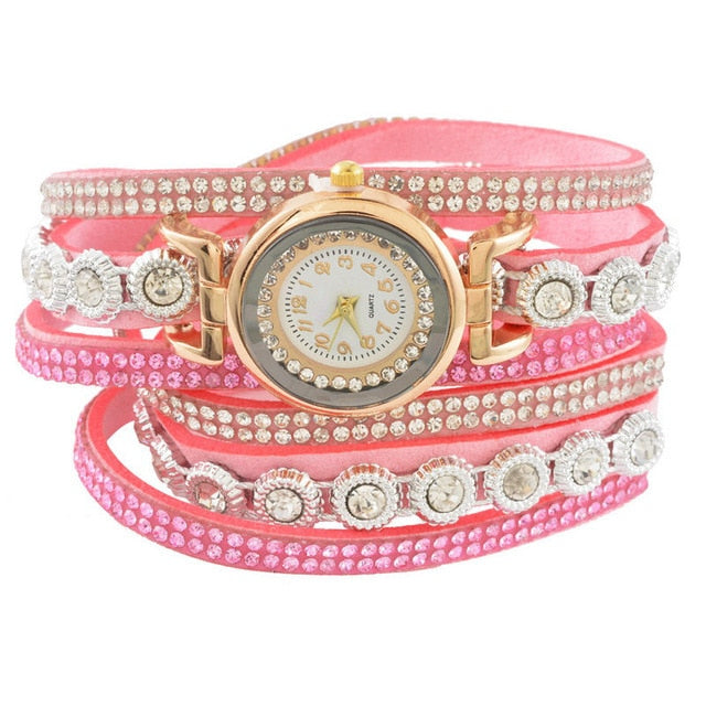 Doreen Box Velvet Quartz Wrist Watches Multicolor Clear Rhinestone Weave Casual Analog Battery Included 40cm(15 6/8