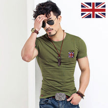 Load image into Gallery viewer, Embroidered Flag T Shirts Men Designer Clothes Vintage Military O Neck Tshirts Slim Fit Tops Fitness Fashion British Tee Shirt