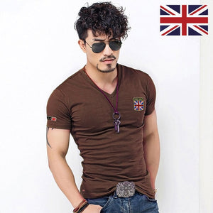 Embroidered Flag T Shirts Men Designer Clothes Vintage Military O Neck Tshirts Slim Fit Tops Fitness Fashion British Tee Shirt
