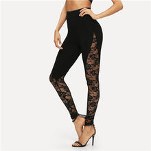 Load image into Gallery viewer, SHEIN Black Sexy Elegant Sheer Floral Lace Insert Skinny Leggings Summer Women Going Out Trousers