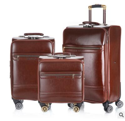 18 Inch 20 Inch Men Spinner suitcase Luggage 24 trolley Suitcase PU Travel Rolling baggage bag On Wheels Travel Wheeled Suitcase