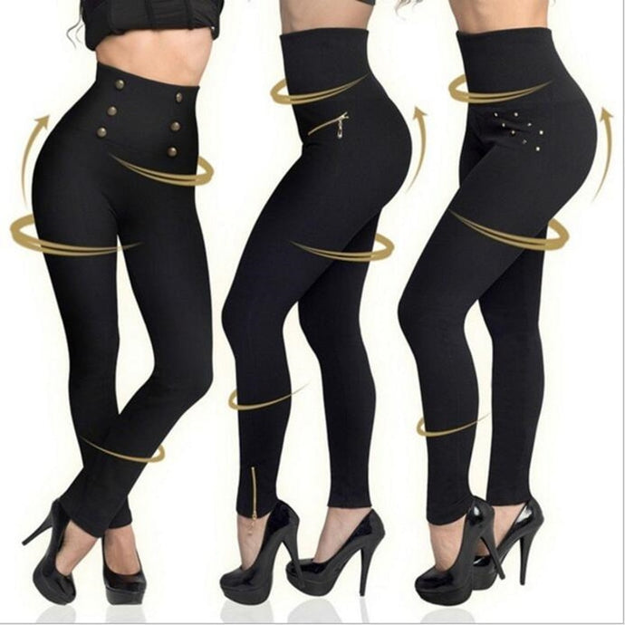 Women High Waist Push Up Button Casual Pants