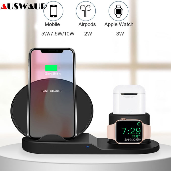 QI wireless charger Stand for iPhone Airpods And Apple Watch 1, 2, 3 And 4