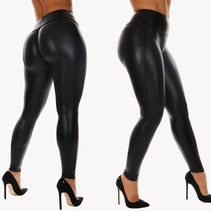 Women Shiny High Waist Slim Leather Stretch Pants