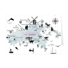 Load image into Gallery viewer, Vintage St. John Map Folded Notecard - Vintage Virgin Islands
