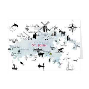 Vintage St. John Map Folded Notecard - Vintage Virgin Islands