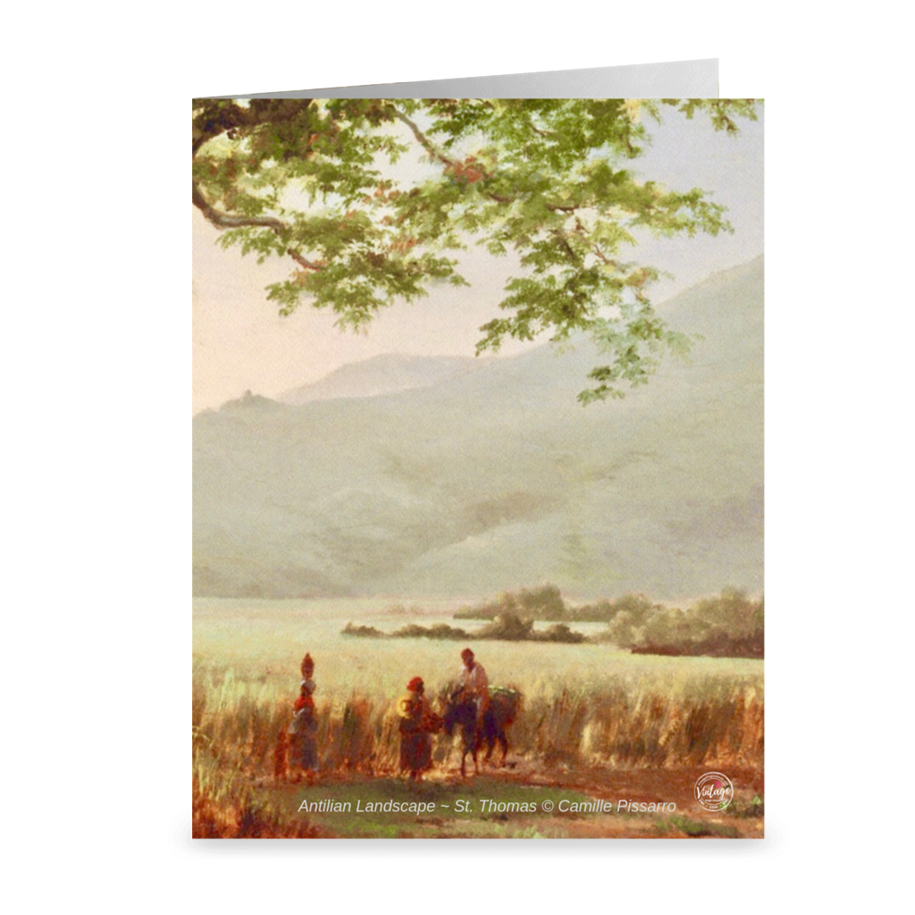Antilian Landscape in St. Thomas, Long Bay By Camille Pissarro ~ Notecard - Vintage Virgin Islands