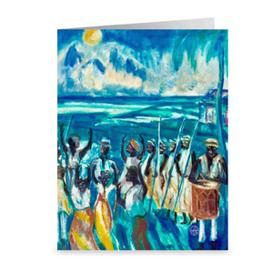 Full Moon Bamboula Dance in St. Croix ~ Notecard - Vintage Virgin Islands