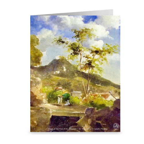 St. Thomas Hillside Village by Camille Pissarro ~ Notecard - Vintage Virgin Islands