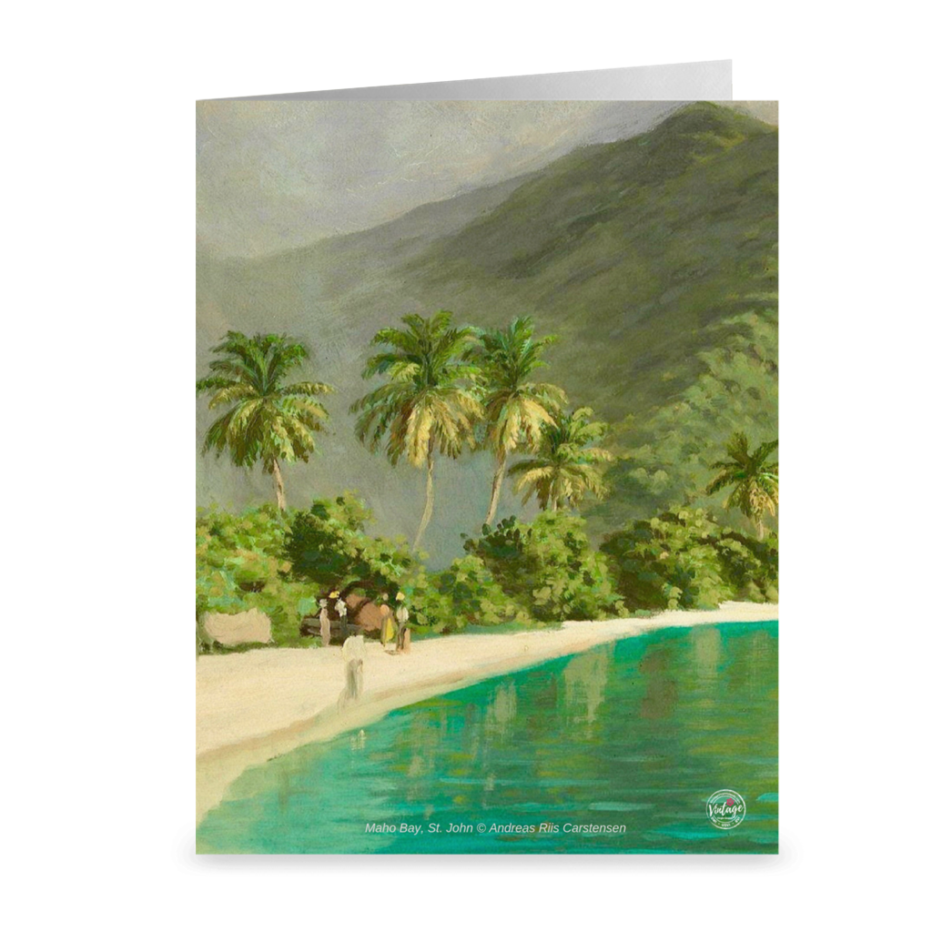 Vintage Maho Bay, St. John by Andreas Riis Carstensen ~ Notecard - Vintage Virgin Islands