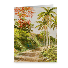 Load image into Gallery viewer, Palms and Flamboyants by Fritz Melbye ~ Notecard - Vintage Virgin Islands