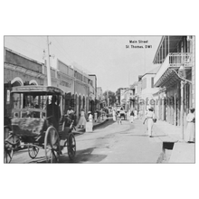 Load image into Gallery viewer, Down Main Street 1912 ~ St. Thomas Postcard - Vintage Virgin Islands