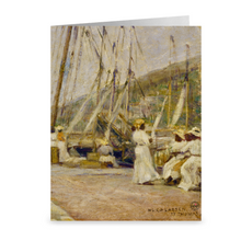 Load image into Gallery viewer, St. Thomas Wharf by Hugo Larsen ~ Notecard - Vintage Virgin Islands