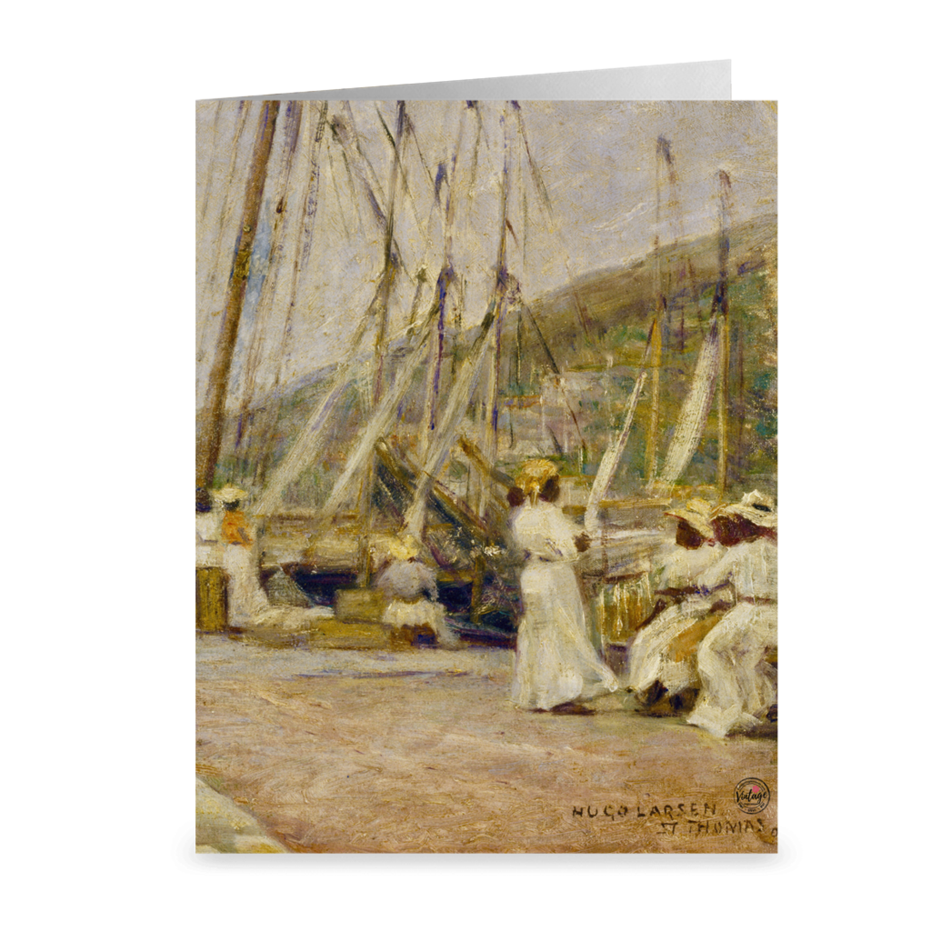 St. Thomas Wharf by Hugo Larsen ~ Notecard - Vintage Virgin Islands