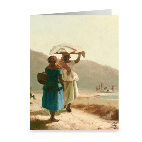 Two Women Chatting by the Seashore by Camille Pissarro ~ Notecard - Vintage Virgin Islands