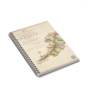 Vintage Tortola Map Notebook - Vintage Virgin Islands