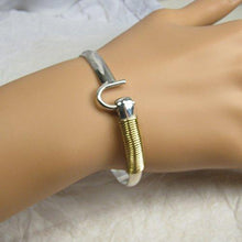 Load image into Gallery viewer, St. Croix Hook Bracelet, Sterling Silver and 14K Gold Fill Hook Braclet 6 mm Wide, Island Love Bracelet - Vintage Virgin Islands