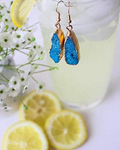 Druzy Collection - Azure Drop Earrings - Vintage Virgin Islands