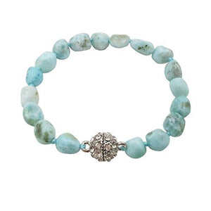 "Natural Stone Larimar Bracelet Crystal Magnet Clasp 7.25"" (7.25) - Vintage Virgin Islands"
