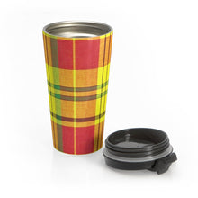 Load image into Gallery viewer, Quelbe Madras ~ Stainless Steel Travel Mug - Vintage Virgin Islands