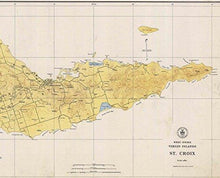 Load image into Gallery viewer, Saint Croix - 1923 Topographical Map Virgin Islands - Atlantic Harbors 3242 - Vintage Virgin Islands