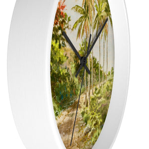 Palms and Flamboyants ~ Wall Clock - Vintage Virgin Islands