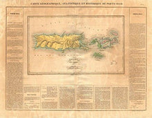 Load image into Gallery viewer, Puerto Rico & Virgin Islands ~ Buchon 1825 ~ Vintage Map - Vintage Virgin Islands