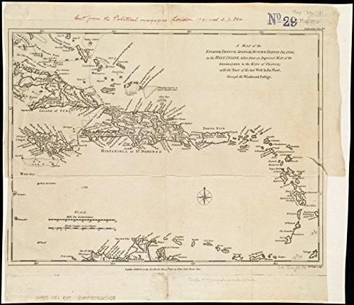Historic Map | 1781 A map of the English, French, Spanish, Dutch, & Danish Islands, in the West Indies - Vintage Virgin Islands