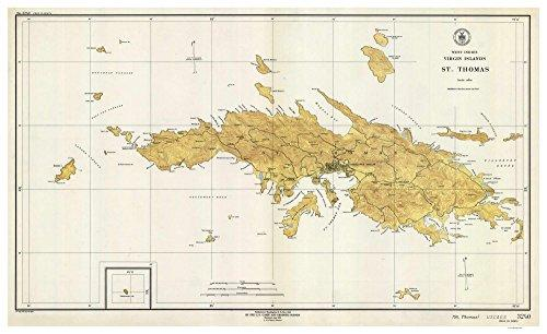 Saint Thomas - 1946 Virgin Islands Topographical Map - Vintage Virgin Islands