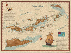 Virgin Islands Map - Vintage Virgin Islands