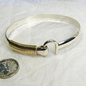 St. Croix Hook Bracelet, Sterling Silver and 14K Gold Fill Hook Braclet 6 mm Wide, Island Love Bracelet - Vintage Virgin Islands