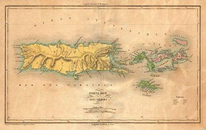 Puerto Rico & Virgin Islands ~ Buchon 1825 ~ Vintage Map - Vintage Virgin Islands
