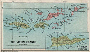 BRITISH/US VIRGIN ISLANDS Tortola Virgin Gorda St Croix St Thomas/John - 1927 - old map - antique map - vintage map - printed maps of Caribbean - Vintage Virgin Islands