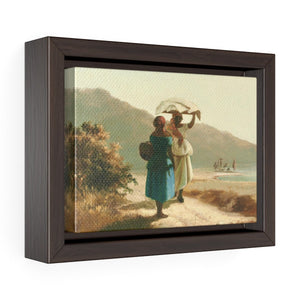 "Two St. Thomas Women Chatting by Camille Pissarro ~ 7"" x 5"" Framed Print - Vintage Virgin Islands"